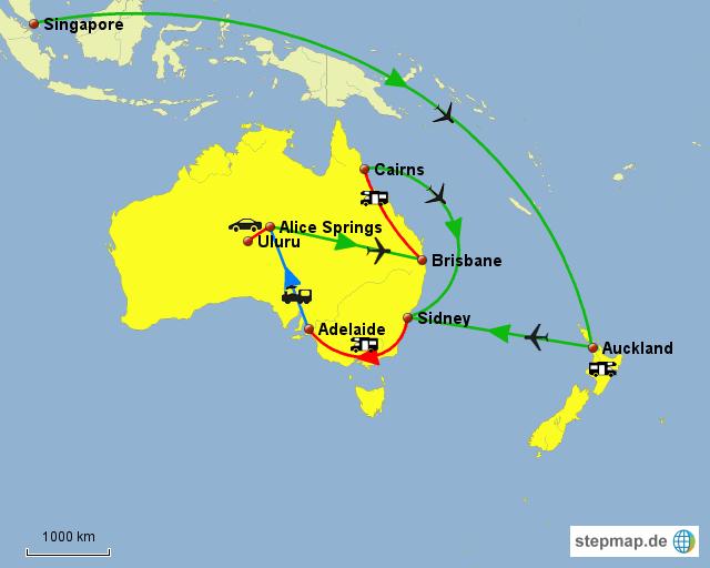 Australien und Neuseeland Reiseroute
