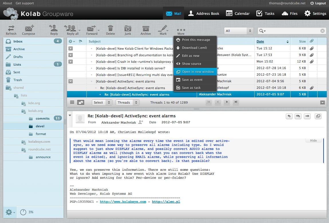 Kolab 3 Roundcube Webmail