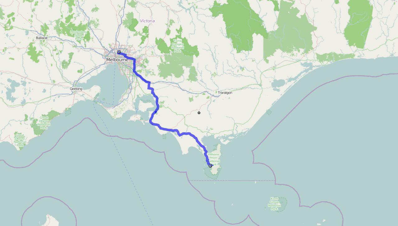 Von Melbourne nach Wilsons Nationalpark