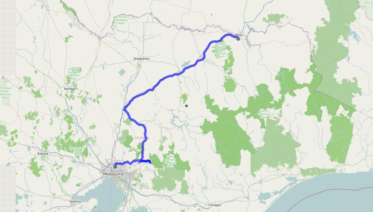 Von Wodonga nach Melbourne