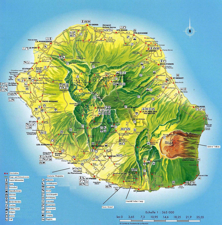 La Reunion Karte mit Orten